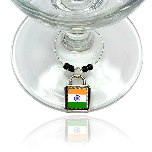 Flag of India Wine Glass Drink Marker Charm Ring