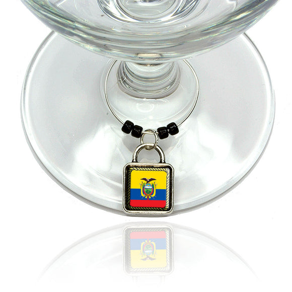 Flag of Ecuador Wine Glass Drink Marker Charm Ring