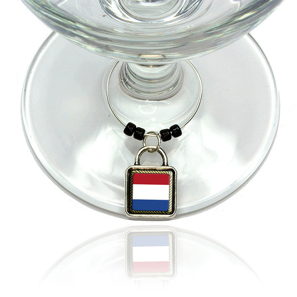 Flag of Netherlands Wine Glass Drink Marker Charm Ring