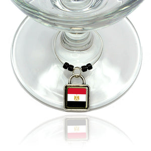 Flag of Egypt Wine Glass Drink Marker Charm Ring
