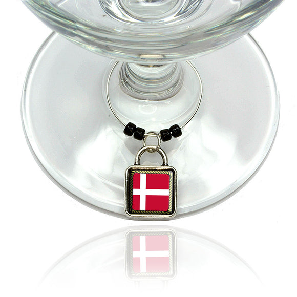 Flag of Denmark Wine Glass Drink Marker Charm Ring