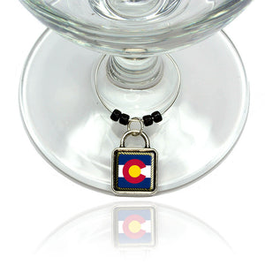 Colorado State Flag Wine Glass Drink Marker Charm Ring