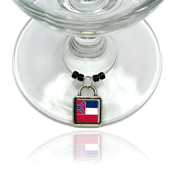 Mississippi State Flag Wine Glass Drink Marker Charm Ring
