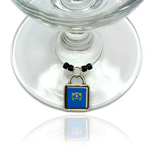 Nevada State Flag Wine Glass Drink Marker Charm Ring