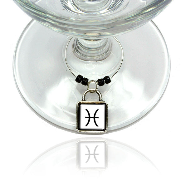 Zodiac Sign Pisces Wine Glass Drink Marker Charm Ring