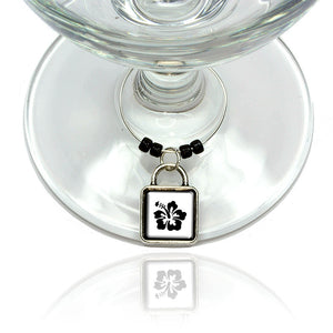 Hibiscus Wine Glass Drink Marker Charm Ring