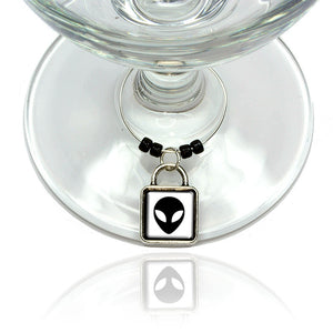Alien Head Wine Glass Drink Marker Charm Ring