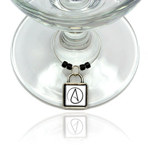 Atheism Sign Symbol Wine Glass Drink Marker Charm Ring