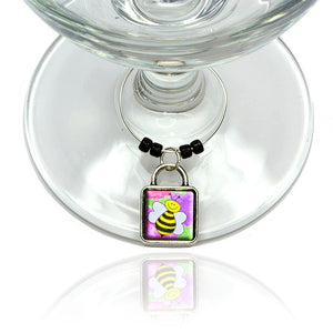 Busy As A Bee Watercolor Wine Glass Drink Marker Charm Ring