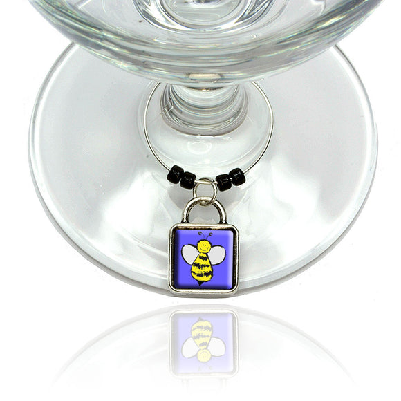 Busy As A Bee Wine Glass Drink Marker Charm Ring