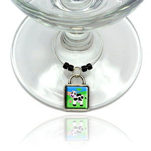 Cow Wine Glass Drink Marker Charm Ring