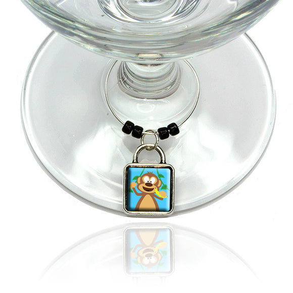 Monkey Wine Glass Drink Marker Charm Ring
