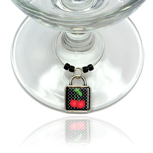 Cherries on Polkadots Wine Glass Drink Marker Charm Ring
