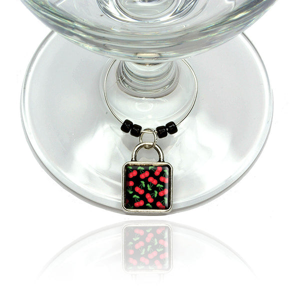 Cherries Pattern Black Wine Glass Drink Marker Charm Ring