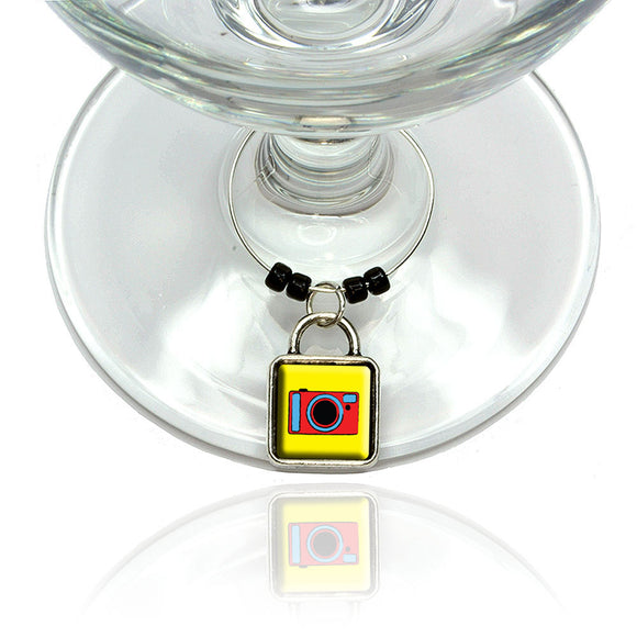 Camera Travel Picture Wine Glass Drink Marker Charm Ring