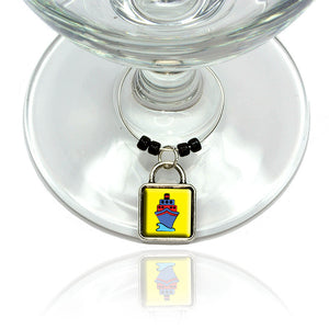 Cruise Ship Travel Ahoy Wine Glass Drink Marker Charm Ring