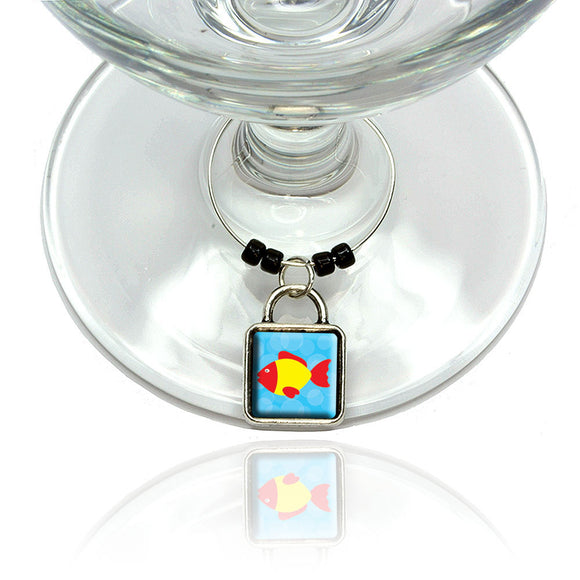 Tropical Fish Red Yellow Wine Glass Drink Marker Charm Ring