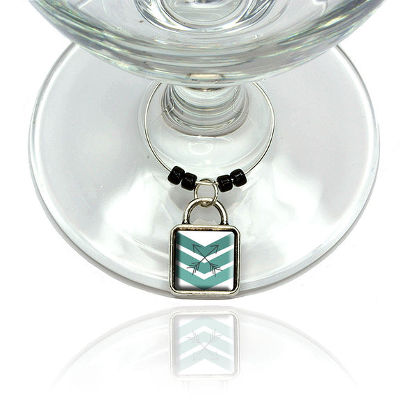 Blue Chevrons & Arrows Wine Glass Drink Marker Charm Ring