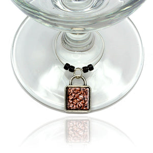 Coffee Beans Wine Glass Drink Marker Charm Ring
