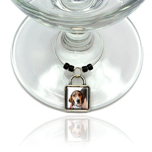 Cute Beagle Wine Glass Drink Marker Charm Ring