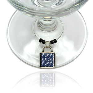 Denim Flowers Wine Glass Drink Marker Charm Ring