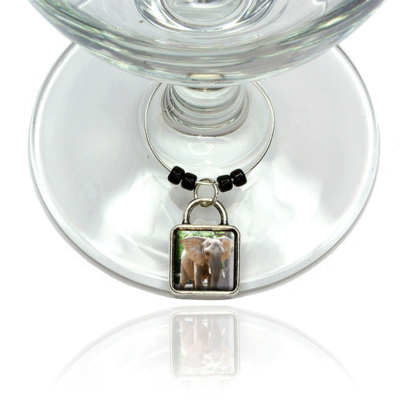 Elephant in the Room Wine Glass Drink Marker Charm Ring
