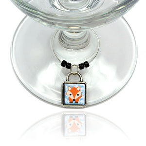 Fox in the Clouds Wine Glass Drink Marker Charm Ring