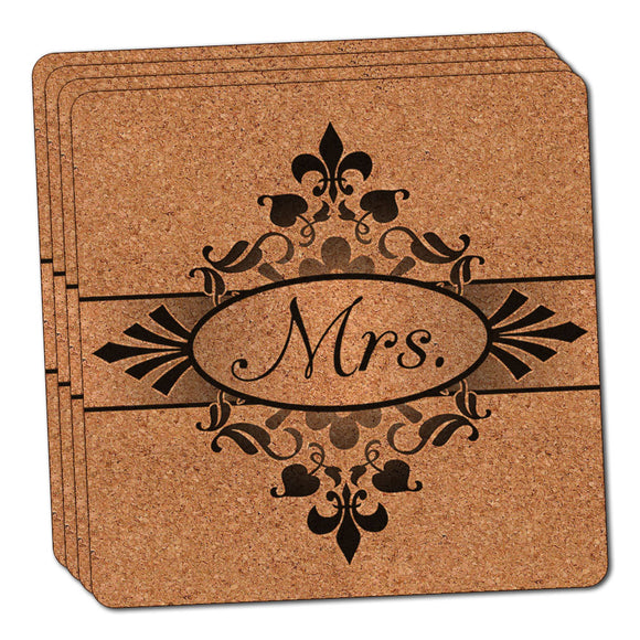 Mrs on Floral Pattern Bride Woman Hers Wife Thin Cork Coaster Set of 4