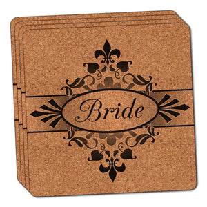 Bride on Floral Pattern Mrs Woman Hers Wife Thin Cork Coaster Set of 4