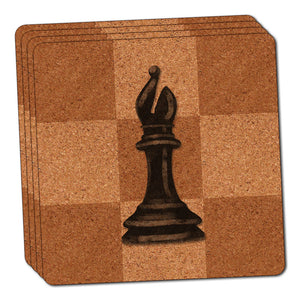 Black Bishop Chess Set Thin Cork Coaster Set of 4