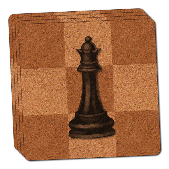 Black Queen Chess Set Thin Cork Coaster Set of 4