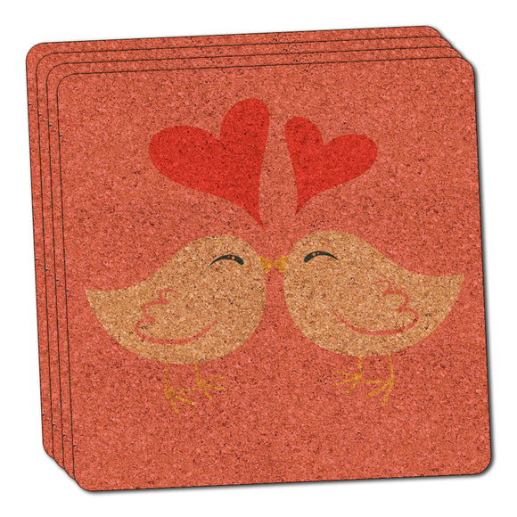 Sweet Kissing Birds in Love Pink Thin Cork Coaster Set of 4
