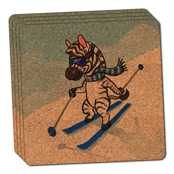 Zebra Skiing Thin Cork Coaster Set of 4