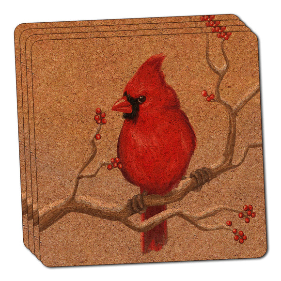 Cardinal in Winter Thin Cork Coaster Set of 4