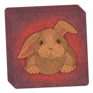 Bunny Rabbit Thin Cork Coaster Set of 4