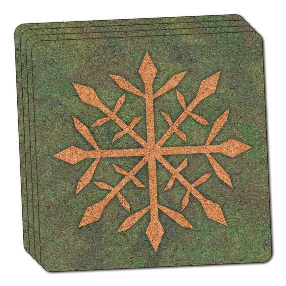 Snowflake Thin Cork Coaster Set of 4