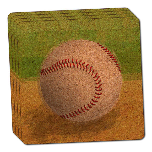 Baseball Thin Cork Coaster Set of 4