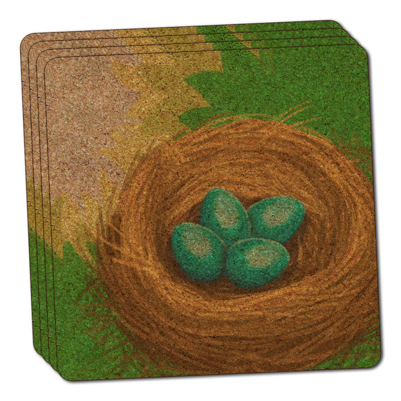 Robin's Nest with Eggs Thin Cork Coaster Set of 4