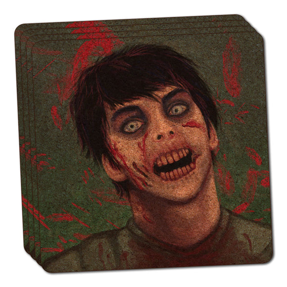Zombified Boy Thin Cork Coaster Set of 4