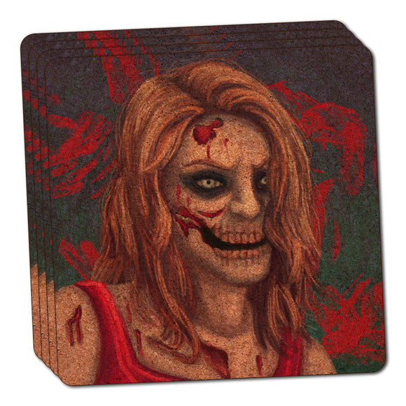 Zombified Girl Thin Cork Coaster Set of 4