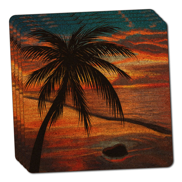 Ambient Beach Sunset Thin Cork Coaster Set of 4