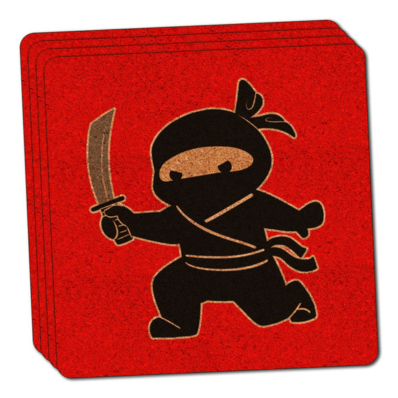 Sneaky Ninja Attacks Thin Cork Coaster Set of 4