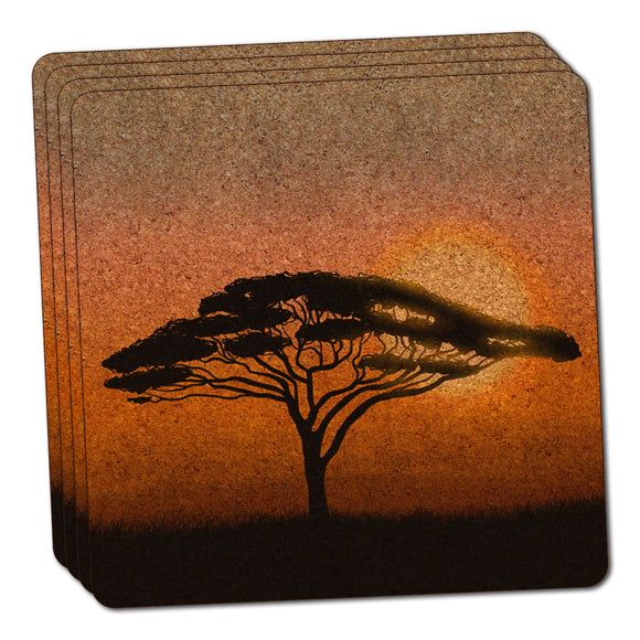 African Plains Thin Cork Coaster Set of 4