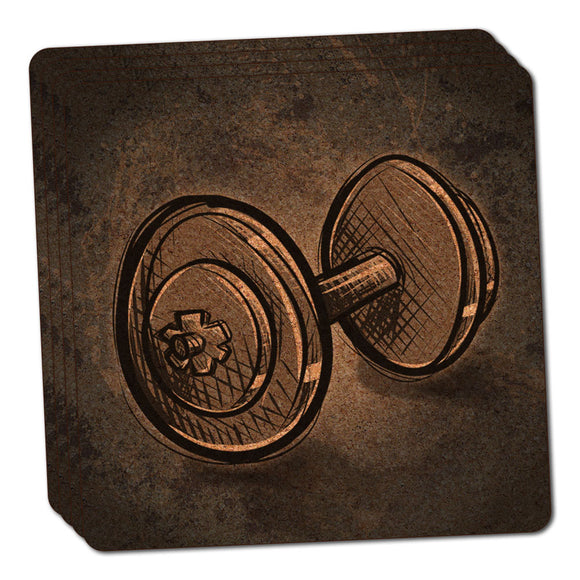 Weight Lifting Dumbbells Thin Cork Coaster Set of 4