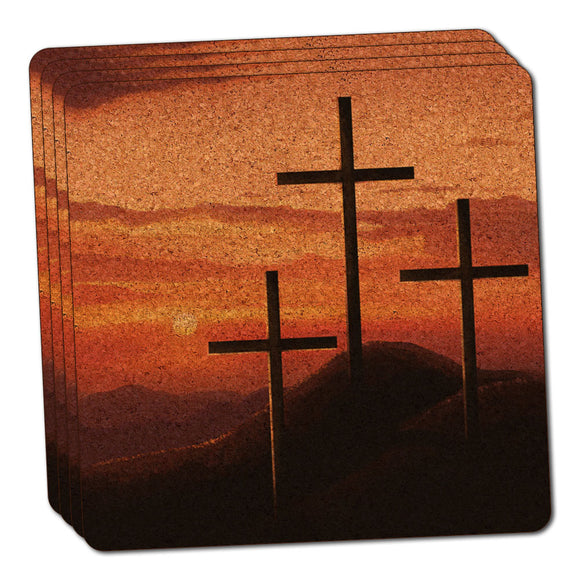 Three Crosses on Hill Thin Cork Coaster Set of 4