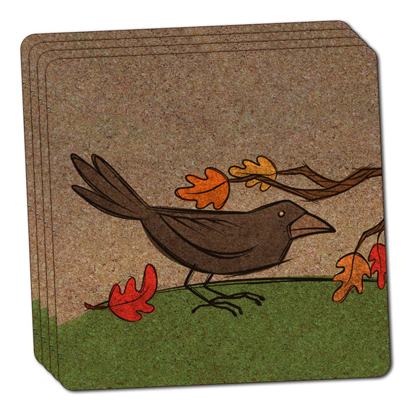 Crow in Autumn Thin Cork Coaster Set of 4