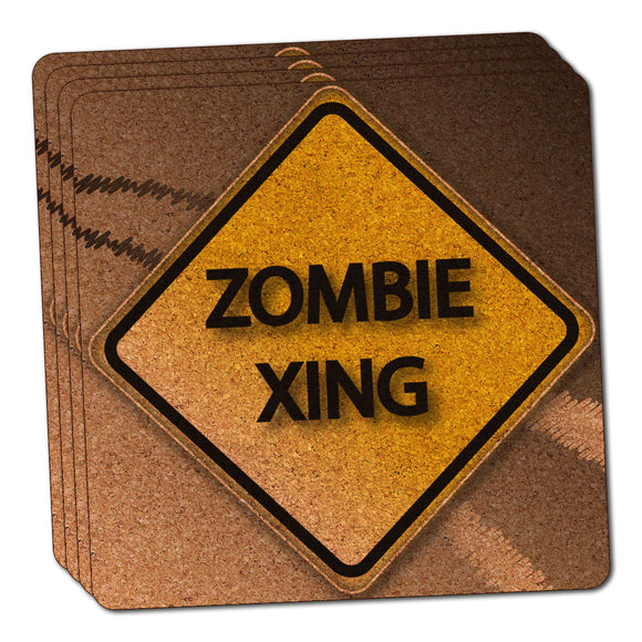 Zombie Xing Crossing Stylized Yellow Grey Caution Sign Cork Coaster Set of 4