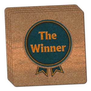 Blue Ribbon The Winner Award Thin Cork Coaster Set of 4