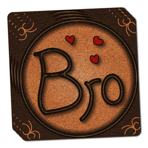 Bro Brother Love Hearts Thin Cork Coaster Set of 4