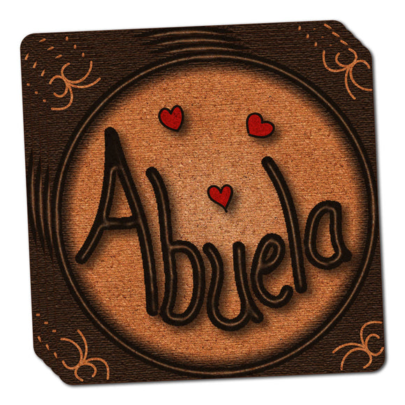 Abuela Grandmother Love Hearts Thin Cork Coaster Set of 4